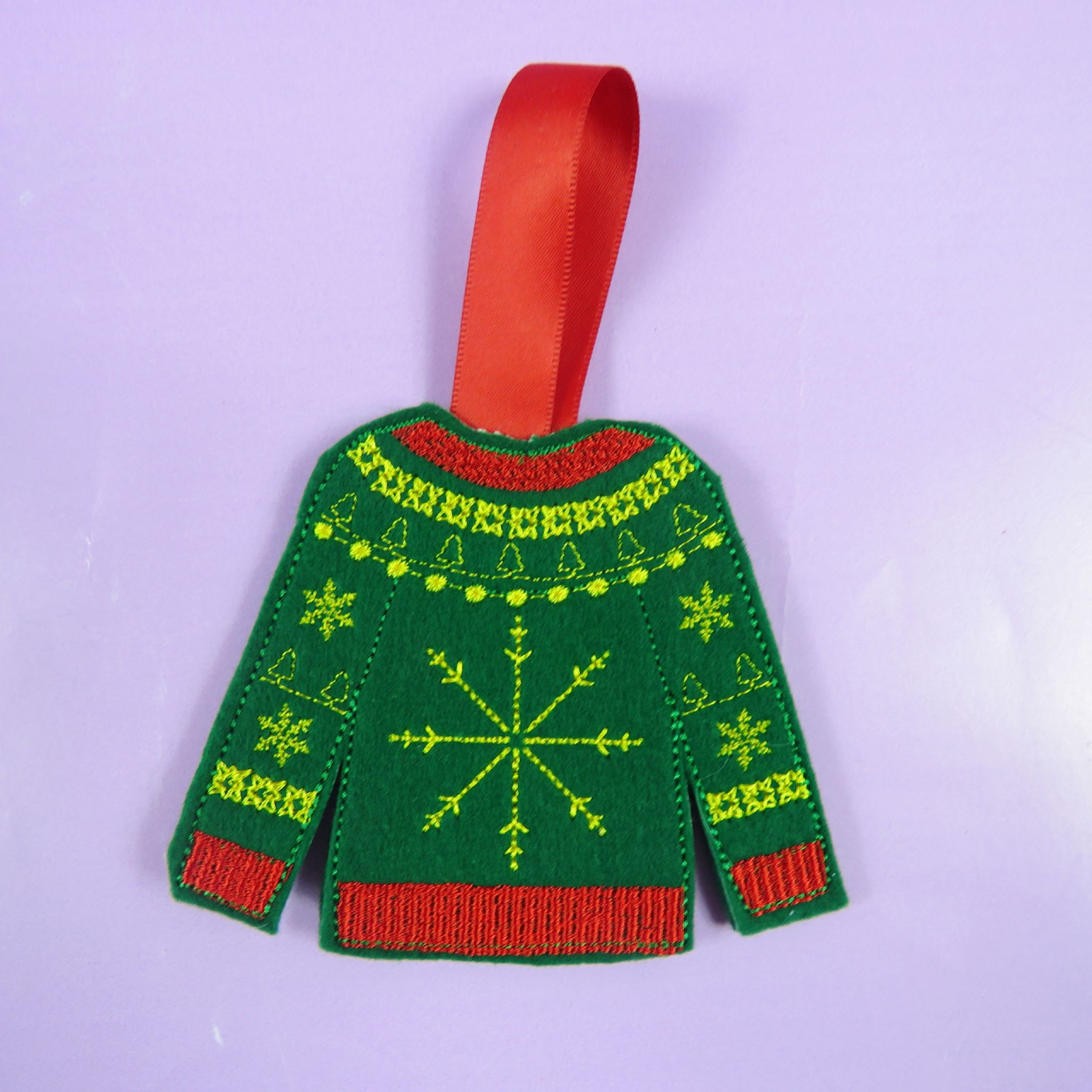 felt jumper christmas decorations santa xmas decs embroidered ugly christmas jumper